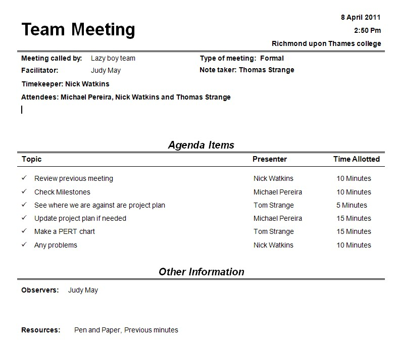 Team Meeting Agendas Template Business