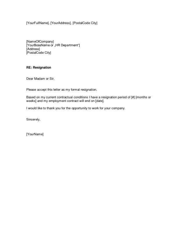 Template Resignation Letter Template Business