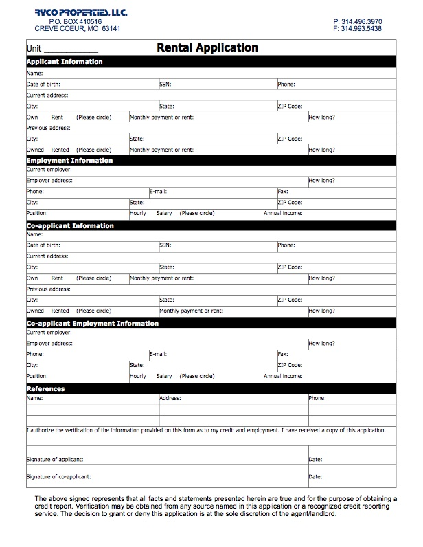 Tenant Application Form Template Business - tenant application form
