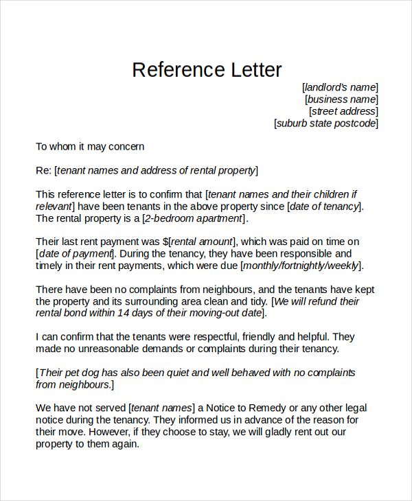 Tenant Reference Letter Template Business