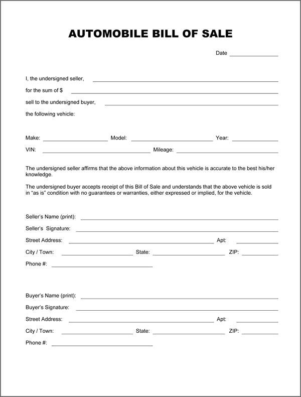 Tennessee Boat Bill Of Sale Template Business