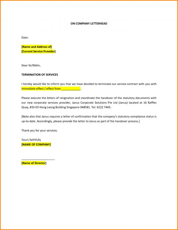 Termination Letter Sample Template Business