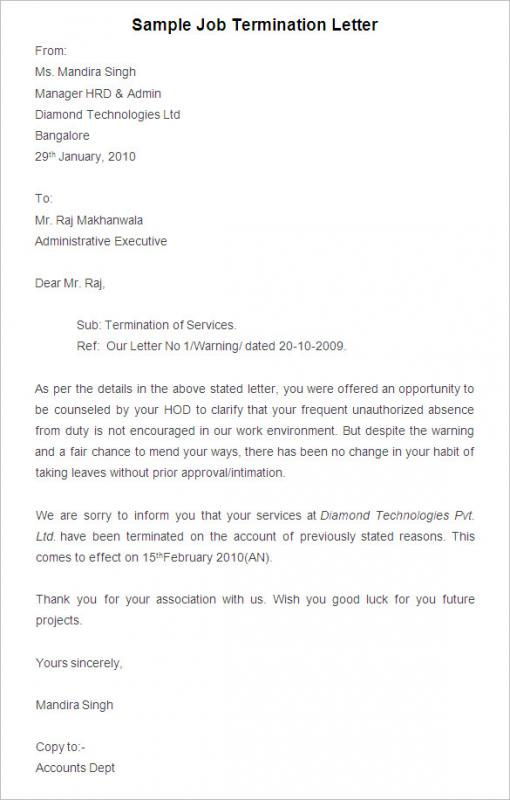 Termination Letter To Employee Template Business