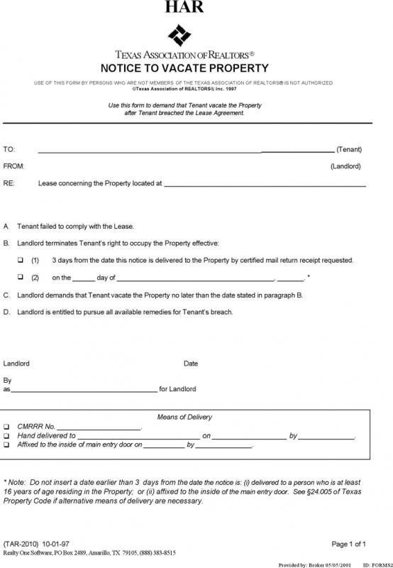 Texas Eviction Notice Form Template Business