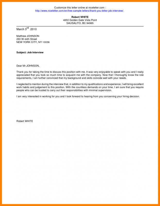 Thank You Email After Interview Example Template Business - thank you email after interview template