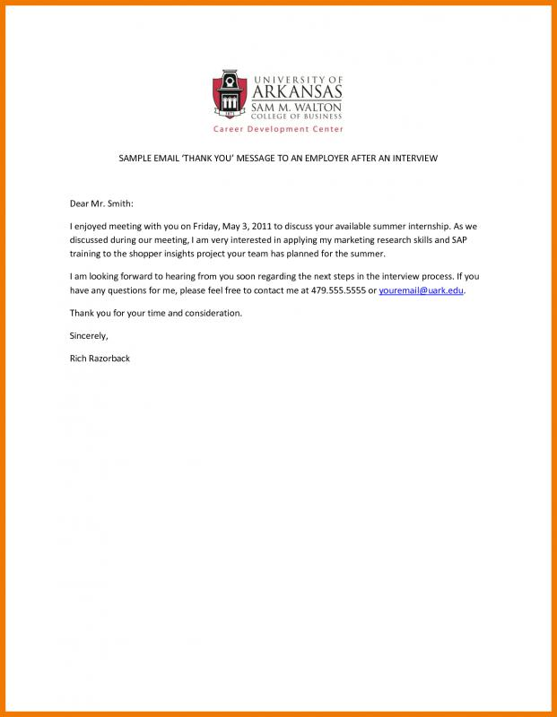 Thank You Email After Interview Example Template Business