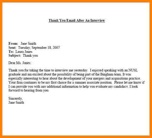 Thank You Email After Interview Subject Line Template Business