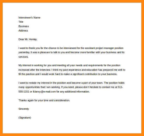 Thank You For Interview Email Template Business