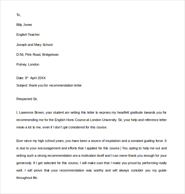 Thank You Letter For Recommendation Template Business