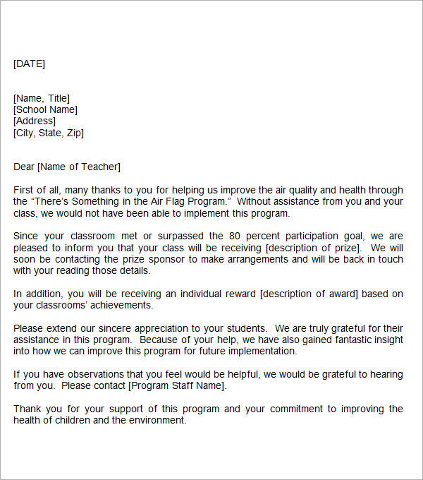 Thank You Letter For Teacher Template Business - Award Thank You Letter