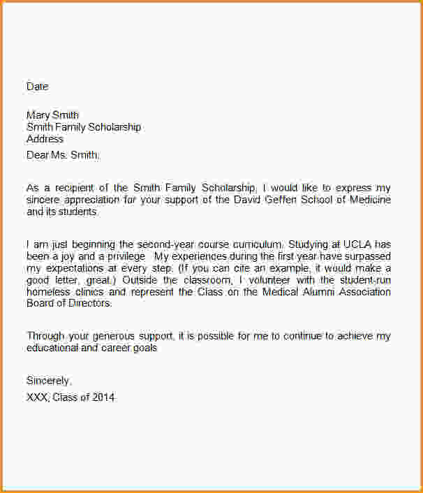 Thank You Letter To Scholarship Donor Template Business Scholarship