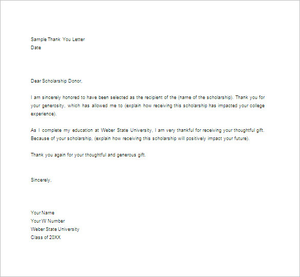 Thank You Note For Scholarship Template Business - sample thank you note