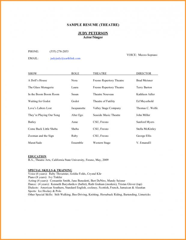 Theatre Resume Template Template Business - theatre resume