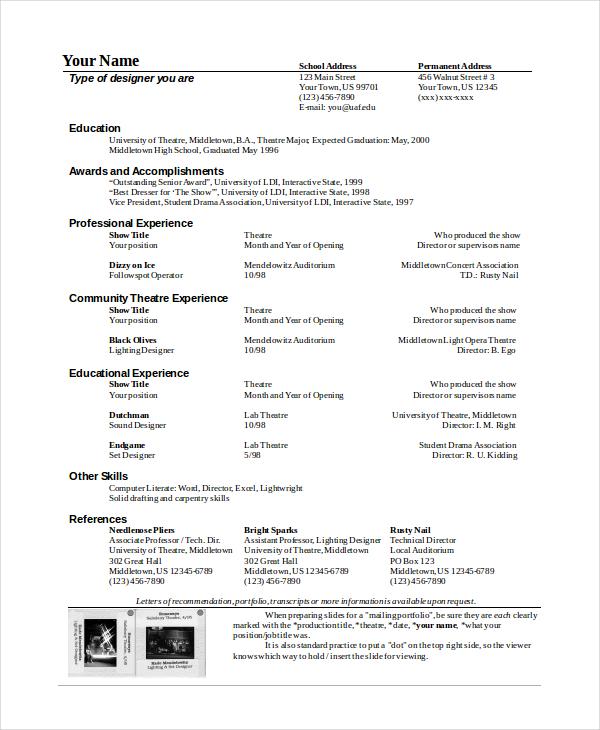 Actor Resume Template Theatre Resume Template Theatre Resume
