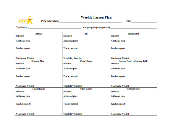 Toddler Lesson Plan Templates Template Business