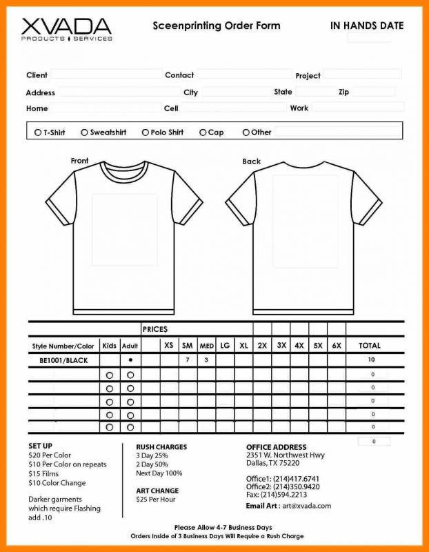 sample t shirt order form template - Josemulinohouse - t shirt order forms