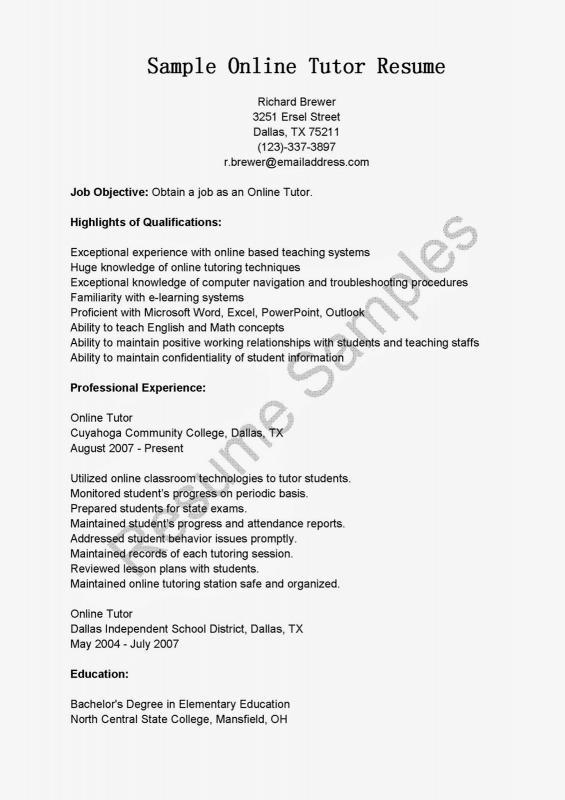 Tutor Resume Sample Template Business - college tutor resume