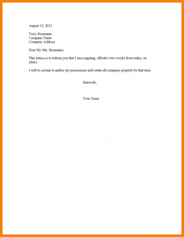 Two Week Notice Letter Template Business - resignation letter 2 week notice