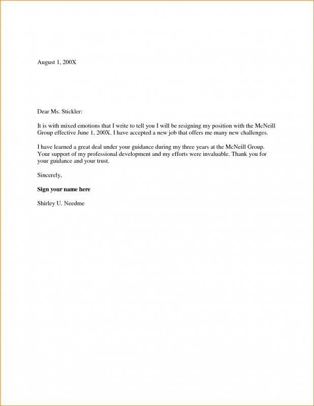 Two Week Notice Letter Template Business - notice of resignation template