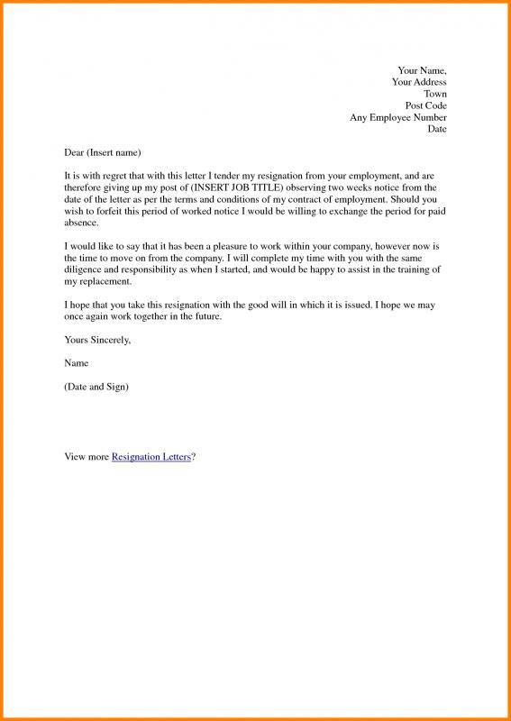Two Weeks Notice Samples Template Business
