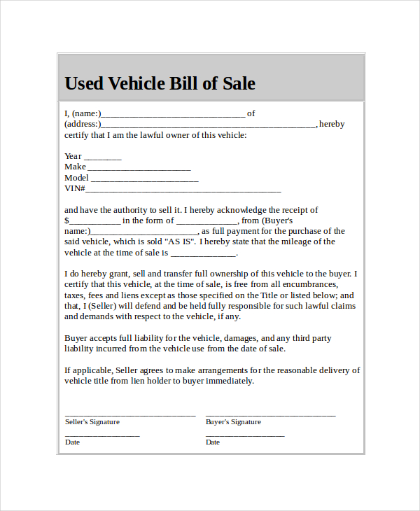 Used Car Bill Of Sale Template Template Business