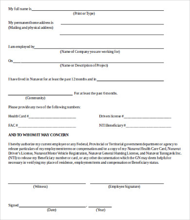 Verification Of Employment Form Template Template Business