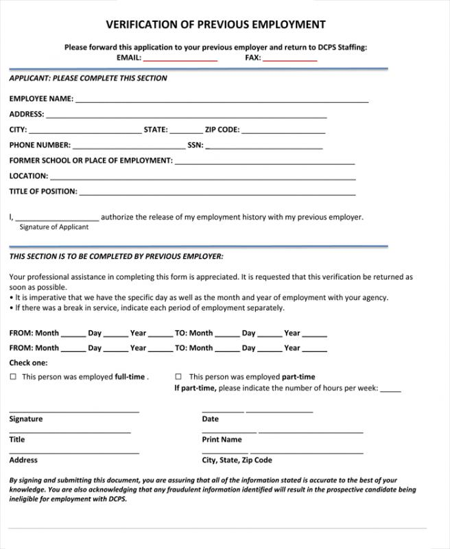 Employee Verification Form Previous Employment Verification Request - employment history template