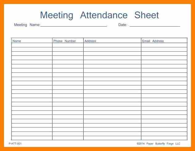 Visitor Sign In Sheet Template Business - attendance register sample