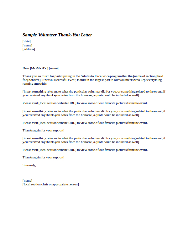Volunteer Thank You Letter Template Business