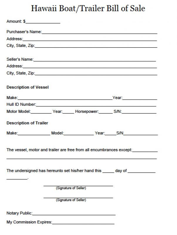Watercraft Bill Of Sale Template Business