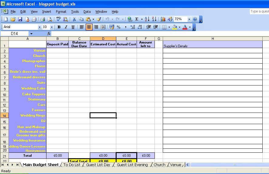 Wedding Checklist Excel Template Business