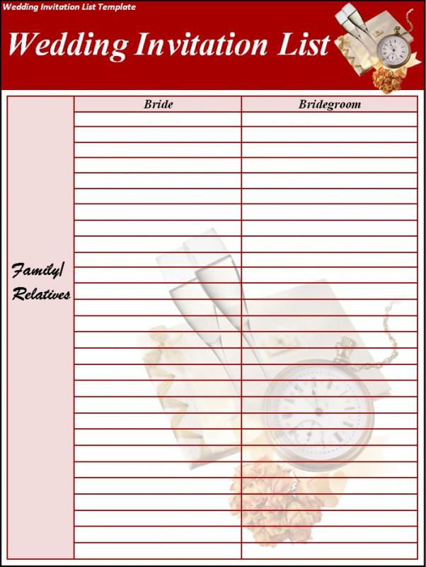 Wedding List Template Template Business