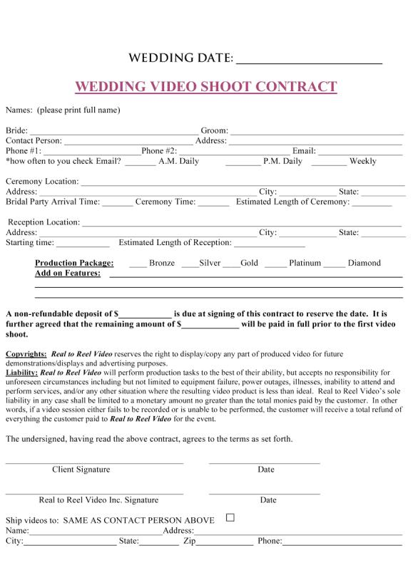 Wedding Photography Contract Pdf Template Business