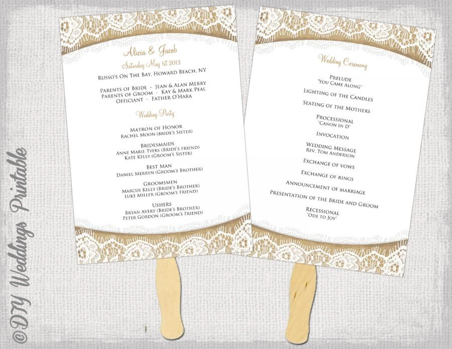 Wedding Program Fan Templates Template Business
