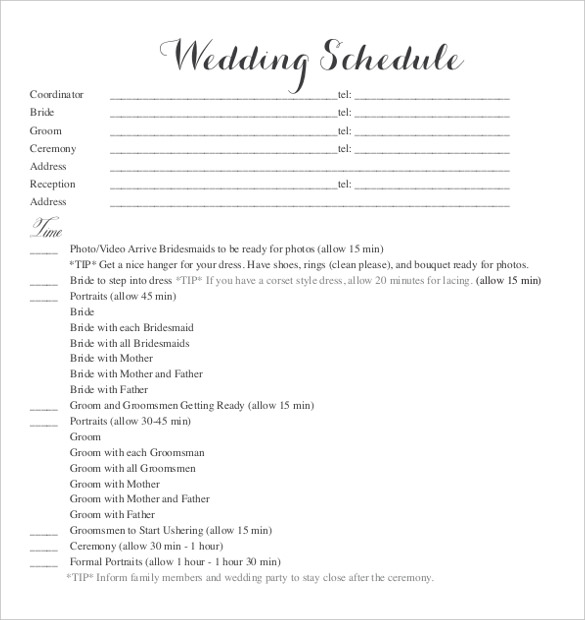 Wedding Schedule Template Template Business