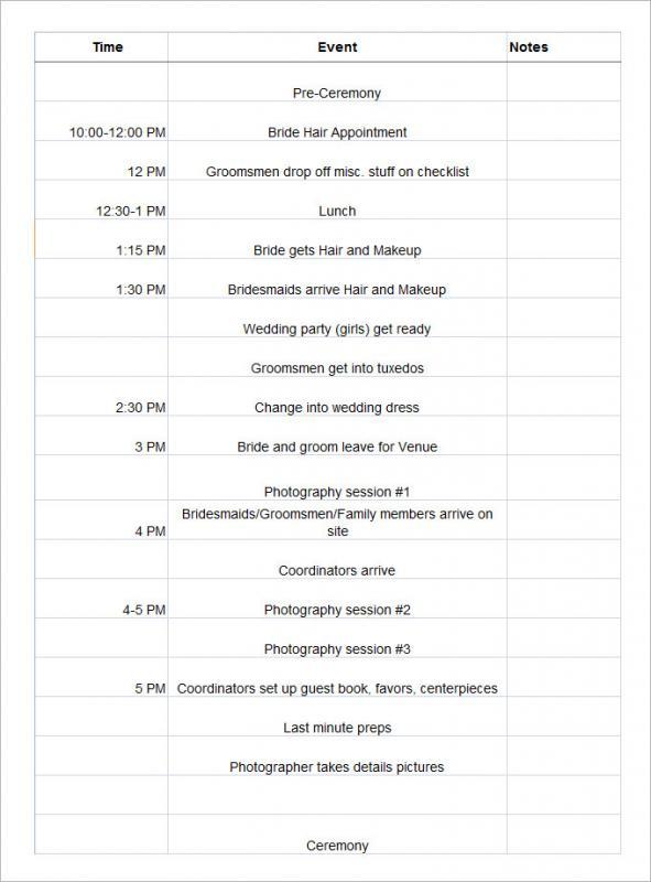 Wedding Schedule Template Template Business