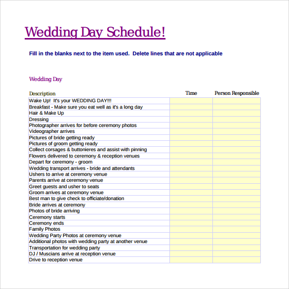Wedding Schedule Templates Template Business