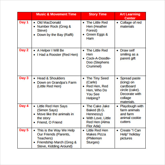 Preschool Lesson Plan Template 21 Free Word Excel PDF Format Blank - sample weekly lesson plan