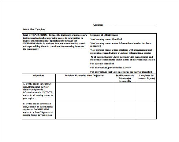 Work Plan Template Template Business