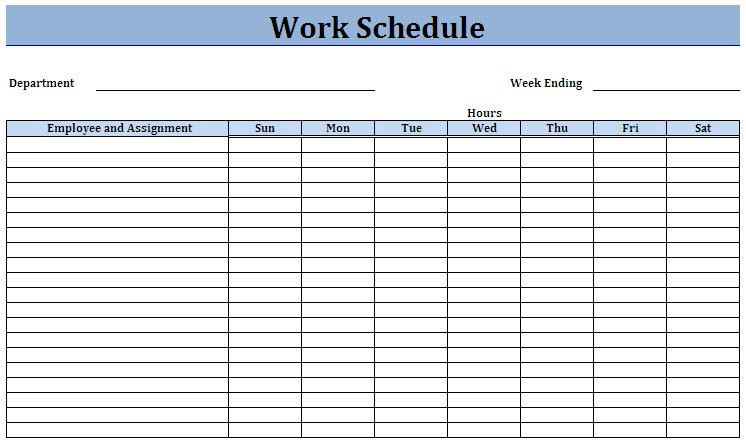 Work Schedule Template Template Business - workout char template