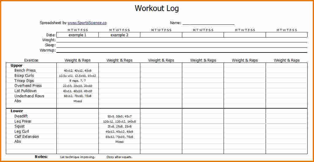 Workout Journal Template Template Business