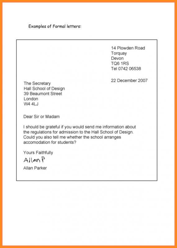 Writing A Formal Letter Template Business