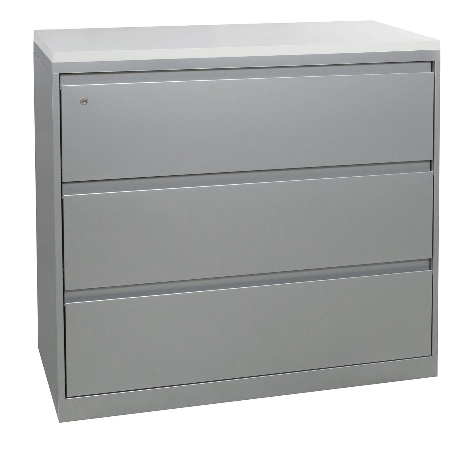 steelcase 900 series used 3 drawer 42 in lateral file w white laminate top platinum