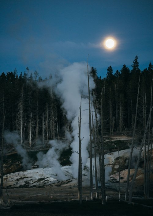 The June full moon rises at Norris Geyser basin, Yellowstone NP.