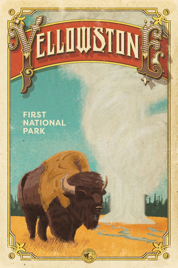 An updated edition of our Yellowstone Poster for the Centennial Series, click for details. Illustrations by Andres.