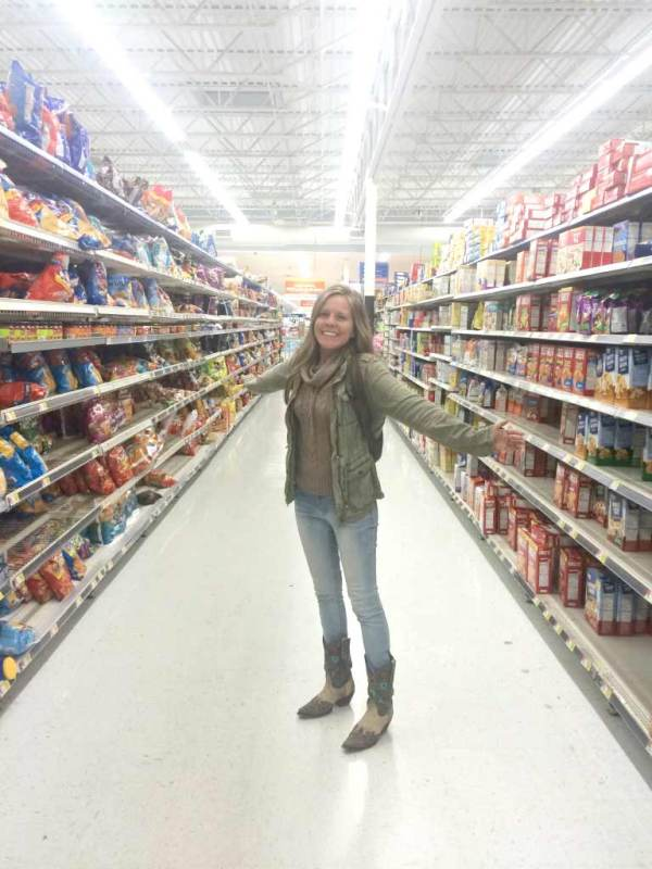 Laughing together in the chip aisle of Walmart, at midnight, in the middle of no where.