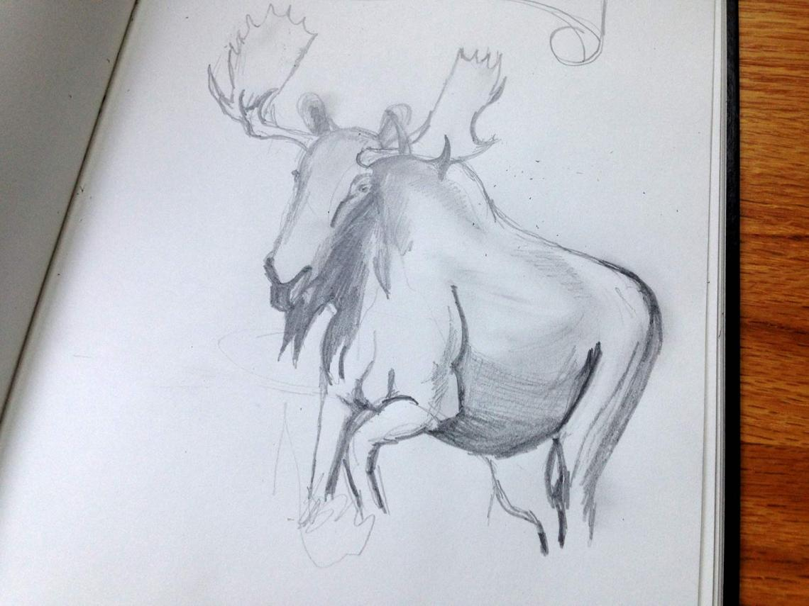 One of our rough moose sketches, preparing for the poster.