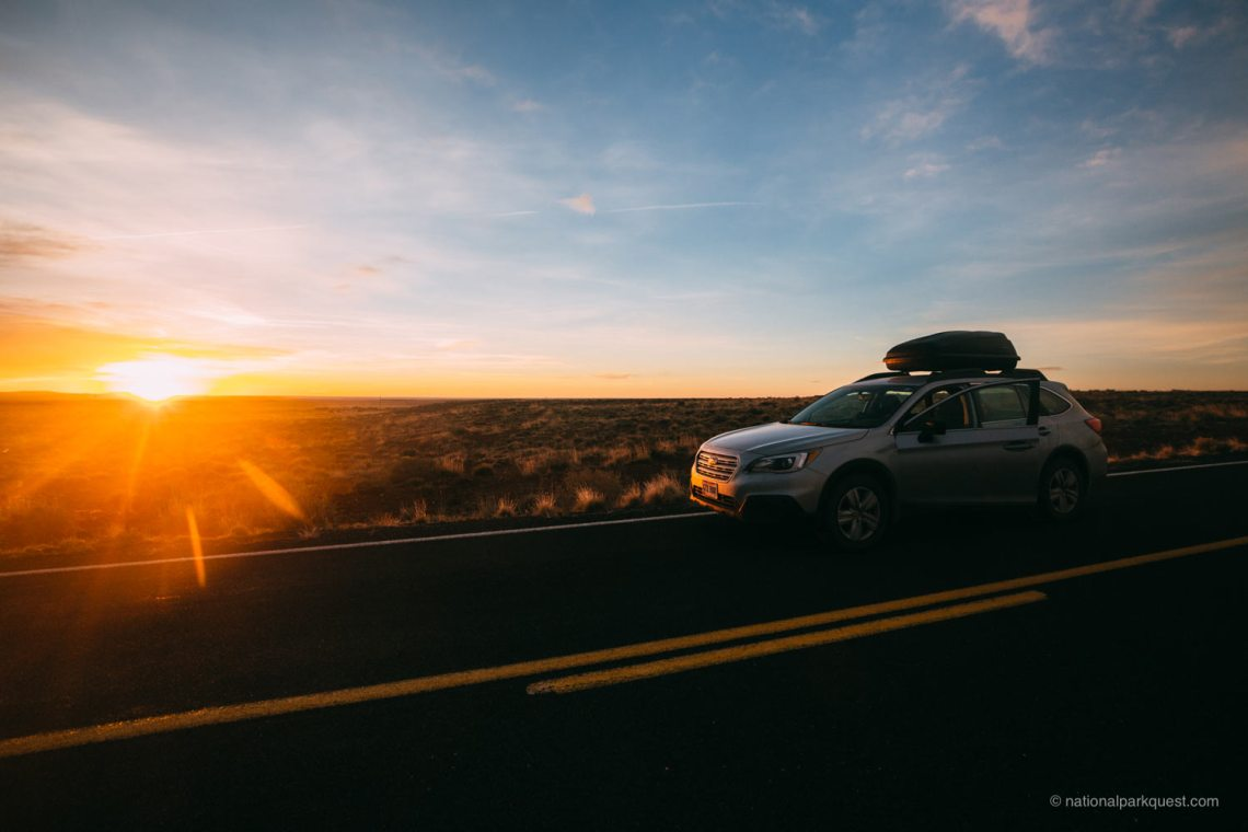 petrified_forest_national_park_voice_echo_car_sunset