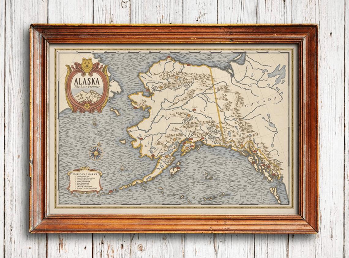 Vintage Alaska Map