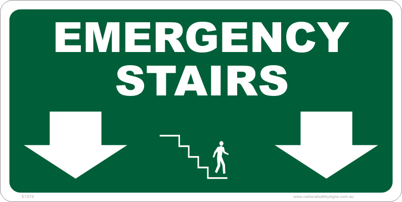 Emergency Stairs Down Sign E1274 National Safety Signs